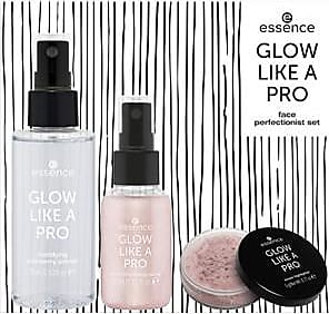 Essence Teint Make-up Glow like a Pro - Rose Sparkles Face Perfectionist Set Mattifying Cranberry Primer 75 ml + Luminizing Fixing Spray 30 ml + Loose Highlig