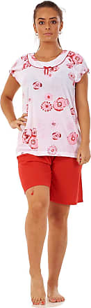 JD Williams Ladies Pyjama Set Short 100% Cotton Cap Sleeve Floral Crew Neck Loungewear S-3XL Red