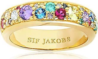 Sif Jakobs Jewellery Ring Novara Uno - 18k gold plated with multicoloured zirconia
