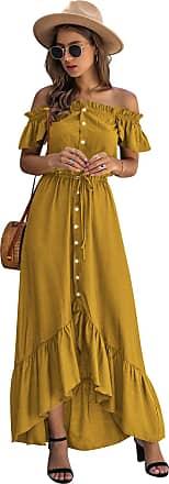 Yidarton Womens Summer Dress Casual Off Shoulder Dress Maxi Short Sleeve Ruffle Beach Dress Long with Buttons and Waist Drawstring (Yellow, XXL)