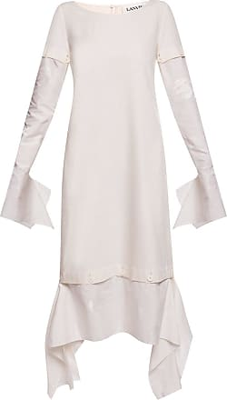 Lanvin Dress With Detachable Sleeves Womens Cream