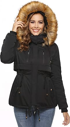 Abollria Womens Winter Thickened Parka Coat Outwear Jacket with Faux Fur Hooded Black