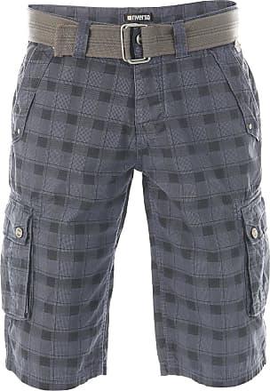 Riverso Riverso Herren Cargo Shorts Rivanton Baumwoll Bermuda Mit Gürtel W30 Washed Blau Schwarz Normaler Bund Knopfleiste W 32