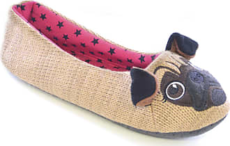 Universal Textiles Womens/Ladies Knitted Raccoon/Pug Design Animal Slippers (UK 3-4, EUR 36-37) (Light Brown (Pug))