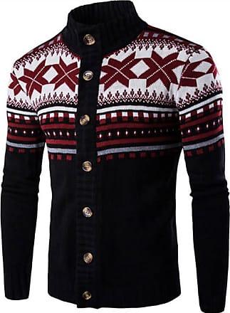 Jeansian Mens Snowflake X-Mas Cardigan Long Sleeve Button Down Knit Sweater Winterwear Jumper 88G4 Black S