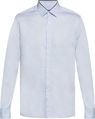 Lanvin Shirt With Fabric Trim Mens Light Blue