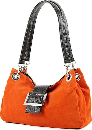modamoda.de ital. Ladies Handbag Tote Satchel leather bag Suede Small TL02, Colour:orange