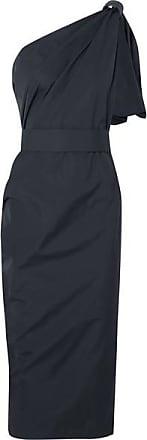Max Mara Embellished One-shoulder Cotton-poplin Dress - Navy