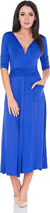 FUTURO FASHION Ladies Stunning Party Cocktail V-Neck Back Bow Draped Leg Split Slit Dress FM38 Royal Blue