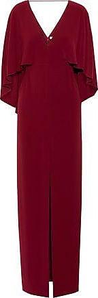 Halston Heritage Halston Heritage Woman Cape-back Split-front Crepe Gown Claret Size 4