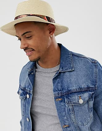 271fc3613bb Asos wide brim straw pork pie hat with paisley band detail
