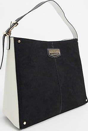 River Island suedette slouch handbag with padlock in black