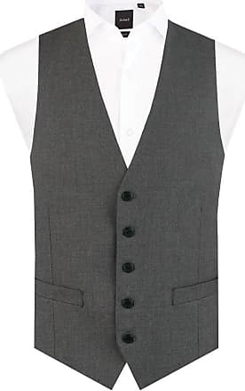 Dobell Mens Light Grey Suit Waistcoat Regular Fit 5 Button Travel/Performance-2XL (50-52in)