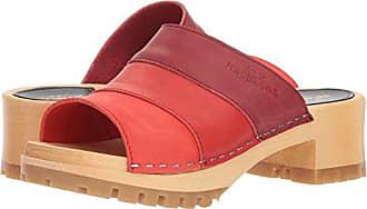 Swedish Hasbeens Womens Mona Heeled Sandal, red Nubuck Color Combo, 36 Regular EU (36-6 US)