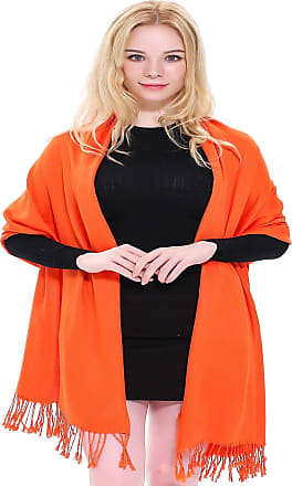 CJ Apparel Orange Solid Colour Design Nepalese Shawl Scarf Pashmina Seconds NEW(Size: One Size)