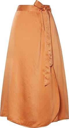 Forte_Forte Hammered Silk-satin Wrap Skirt - Orange