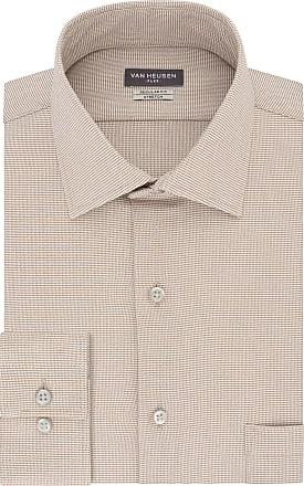 Van Heusen Mens Dress Shirt Regular Fit Flex Collar Stretch Check, Camel, 16.5 Neck 32-33 Sleeve
