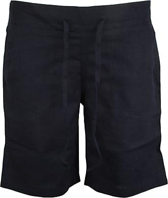 Tom Franks Ladies Linen Blend Pull On Ribbed Waist Shorts Dark Blue 10