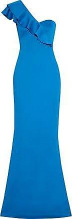 Black Halo Black Halo Woman Carmel One-shoulder Ruffle-trimmed Stretch-cady Gown Blue Size 12
