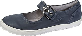 Boulevard Womens Ladies Leather Look Buckle Strap Flat Dolly Shoes Blue 7