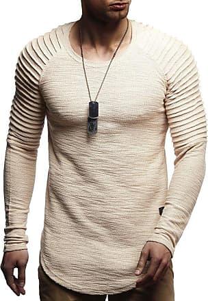 LEIF NELSON Mens Sweater Long Sleeve Crew Neck Sweatshirt LN-8129 Beige XX-Large