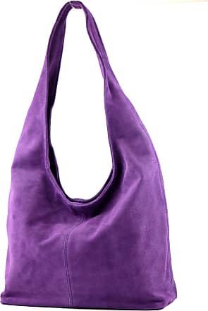 modamoda.de ital. Leather Bag Shoulder Bag Shoulder Bag Damentasche Wildleder T150, Colour:violet