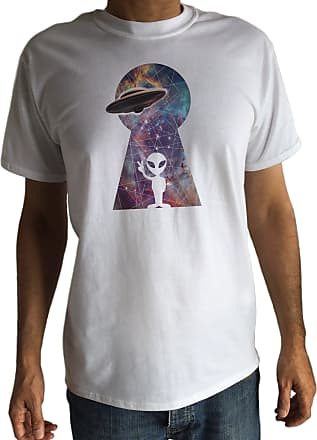 Irony Mens T-Shirt with Space Key Hole Print/Universe UFO T-Shirt -Graphic T-Shirt C15-5 (XXLarge) White