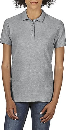 Gildan Womens Gildan Ladies Softstyle Double Pique Short Sleeve Polo Shirt Top Sport Grey Medium