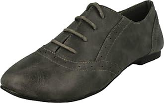 Spot On Flat Lace Up Brogue Shoe (Grey, Size 6 UK)