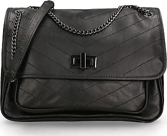 Chicca Borse Shoulder Bag in genuine leather made in Italy - 20x28x10 Cm