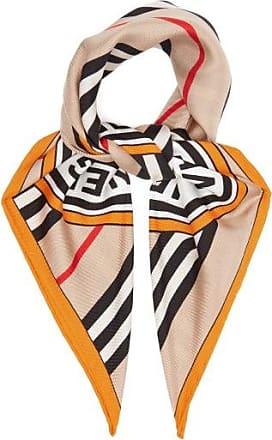 Burberry Logo-print Silk Scarf - Womens - Beige Multi