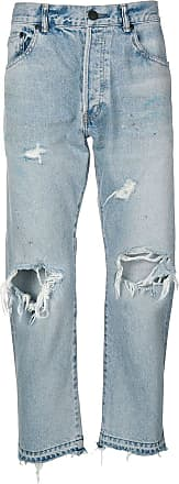 John Elliott + Co Calça jeans reta com detalhes puídos - Azul