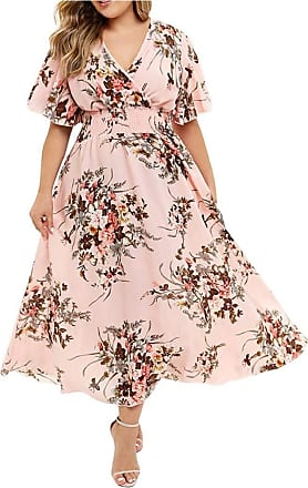 Yvelands Long Dress for Women Plus Size Casual V-Neck Floral Print Boho Beach Maxi Dresses Short Sleeve Swing Maxi Party Evening Dress for Ladies UK Pink