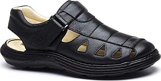 Doctor Shoes Antistaffa Sandália Masculina 917302 em Couro Floater Preto Doctor Shoes-Preto-40