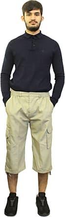 Saute Styles Mens Elasticated Waist Gym Cotton Cargo Combat 3/4 Long Knee Length Shorts Pants Beige XXXL