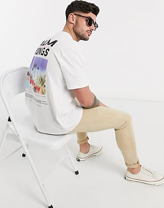 Topman T-Shirt mit Palm Springs-Print hinten in Weiß