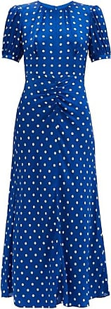 Self Portrait Self-portrait - Polka-dot Satin Midi Dress - Womens - Blue