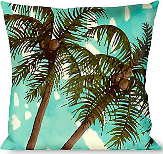 Buckle Down Pillow Decorative Throw Palm Trees Swaying Tan Teal