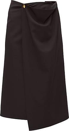 Bottega Veneta Draped Wool-twill Midi Skirt - Womens - Black