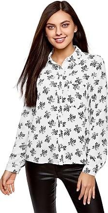 oodji Womens Printed Chiffon Blouse, White, UK 6 / EU 36 / XS
