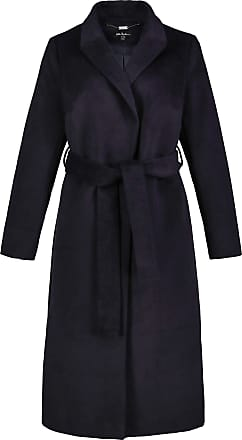 Ulla Popken Womens Plus Size Belted Wrap Coat Navy 32/34 725466 70-58+