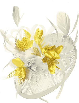 Caprilite Cream Ivory and Gold Sinamay Disc Saucer Fascinator Hat for Women Weddings Headband