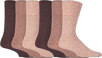 SockShop 6 Pairs Unisex IOMI Footnurse SockShop Loose Non Elastic Diabetic Socks for Swollen Legs with Hand Linked Toe Seams 6-11 UK 39-45 Eur (Brown)