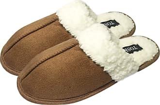 TOSKATOK Unisex Ladies Womens Mens Warm Winter Faux Suede Soft Sherpa Fur Fleece Lined Sheepskin Slippers Slip on Mules -TAN-11/12