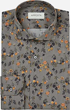 Apposta Camicia disegni a fiori multi 100% puro cotone popeline, collo stile francese punte corte