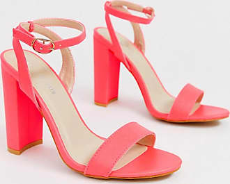 Glamorous neon pink barely there block heeled sandals-Orange