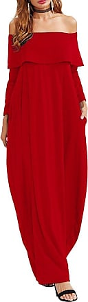 iShine Women Off Shoulder 3/4 Sleeve Flouncing Bohemian Maxi Dress with Pockets Wine Red