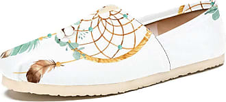 Tizorax Dream Catcher with Cotton Flower Mens Slip on Loafers Shoes Casual Canvas Flat Boat Shoe