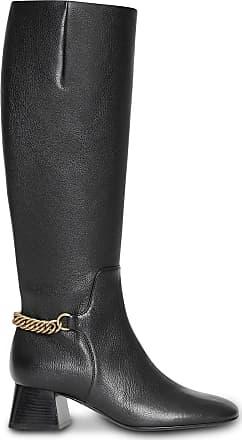 efb1eb6e75b Burberry Link Detail Leather Knee-high Boots - Black
