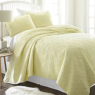 iEnjoy Home ienjy Home Damask Patterned Quilted Coverlet Set, King, Yellow